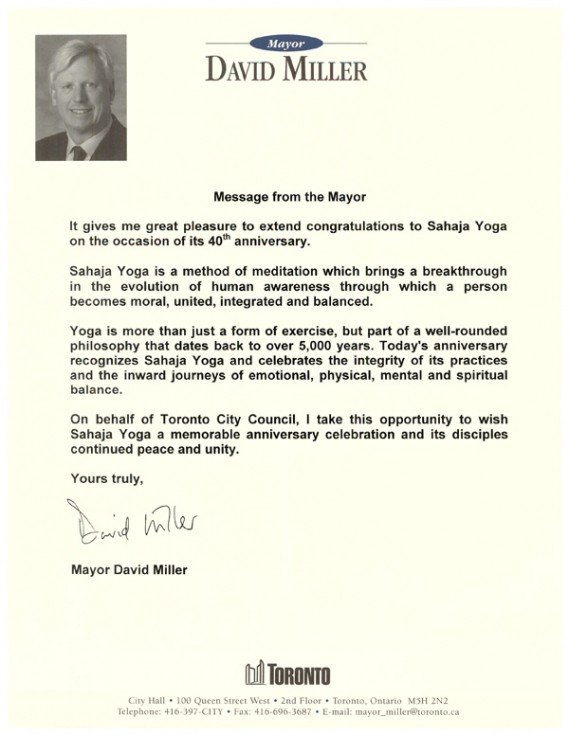 Felicitation letters from the premiers of canada on the 40th mr david miller mayor of toronto stopboris Images