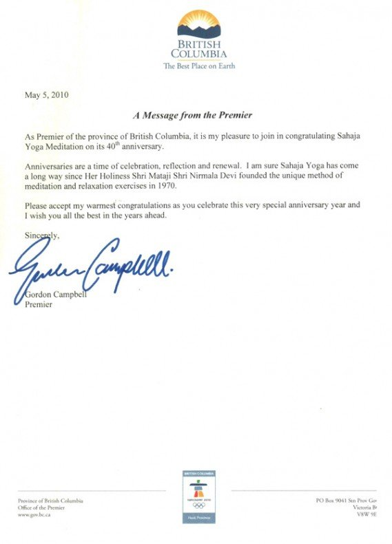Felicitation Letters From The Premiers Of Canada On The