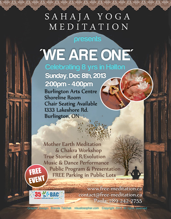 """We Are One"" 8th Anniversary Free Meditation Event in Burlington, Ontario"